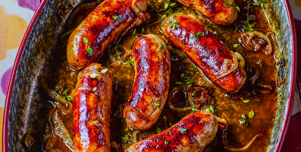 Lovely looking Co-op sausages with onions in a dish