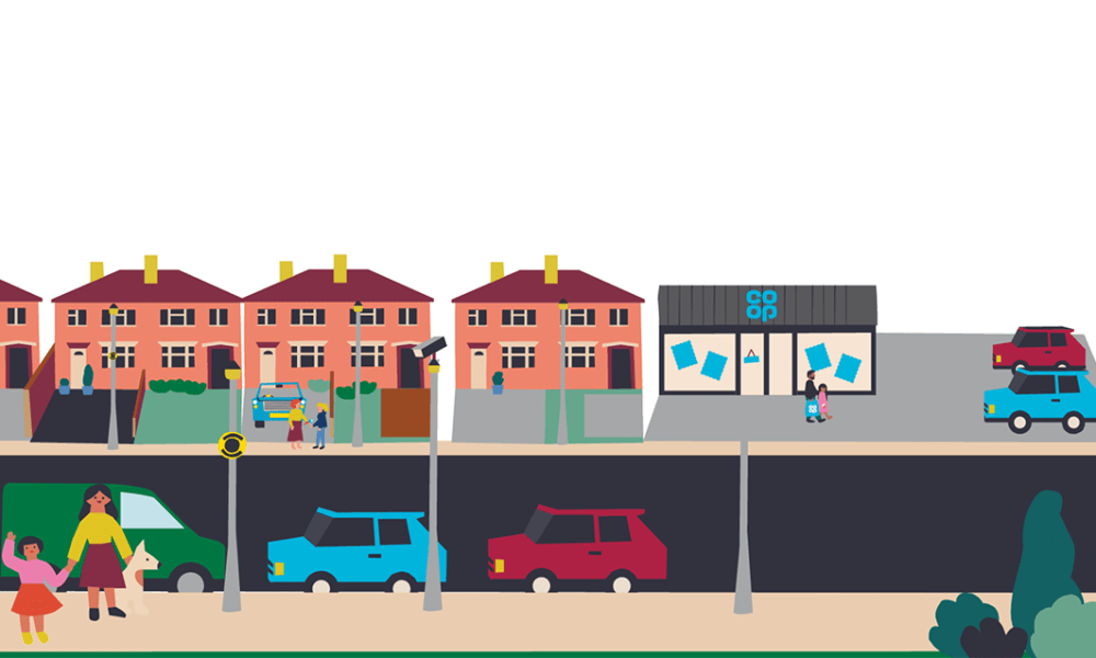 Illustration of a community with a Co-op shop