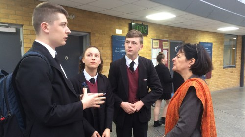 Pippa chatting to students at Co-op Academy Failsworth
