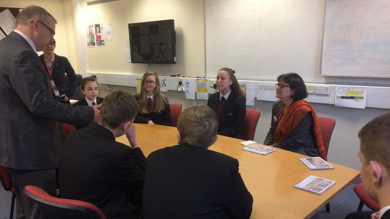 Pippa chatting to the School Council at Co-op Academy Failsworth