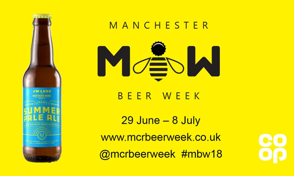 Graphic showing the festival ale bottle and dates of the Manchester Beer Week - 29 June to 8 July