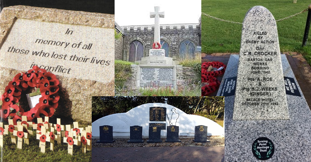 Montage of war memorials created or restored by Co-op colleagues