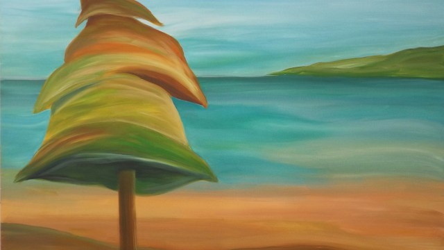 rainbow tree 36x48 painting janet bright art