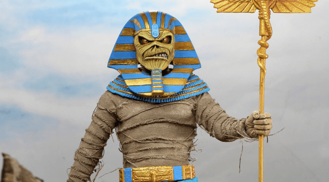 Here are the final packaging photos for the Iron Maiden – 8″ Clothed Action Figure – Pharaoh Eddie