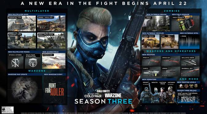 Call of Duty Black Ops Cold War y Warzone se calientan en la Temporada Tres, en abril 22