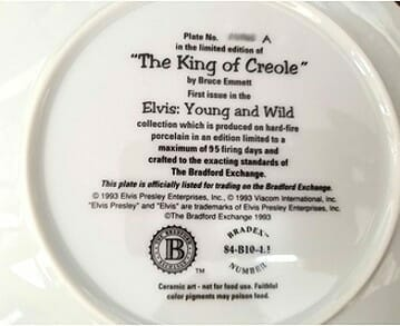 Elvis Presley Creole King Collector Plate back view