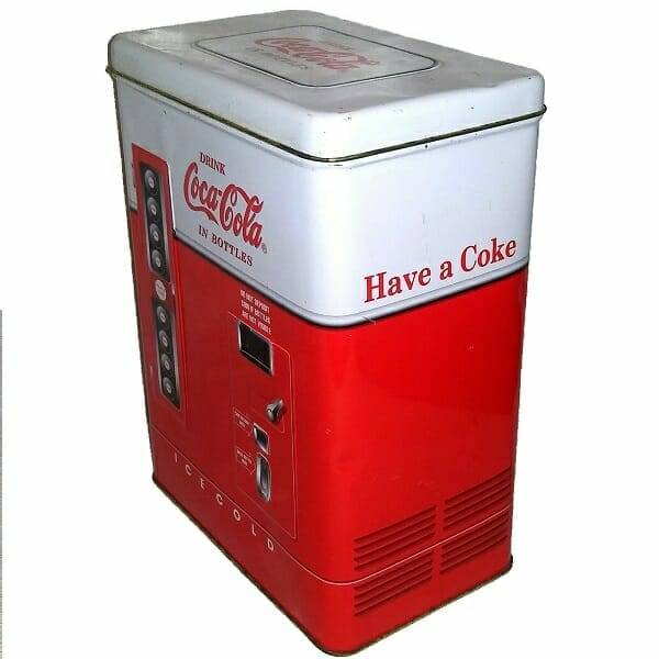 Coke Vending Machine Tin side view