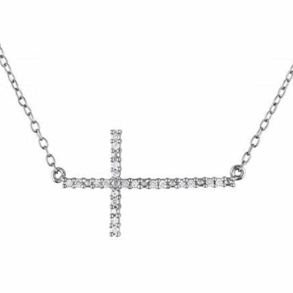 Sideway Diamond Cross Necklace