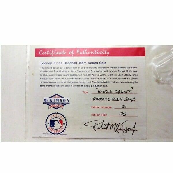 Toronto Blue Jays Cel certificate close up