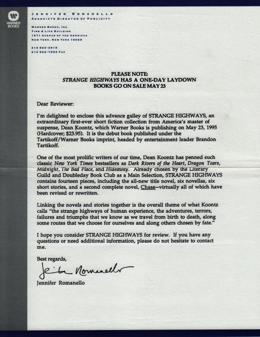 Strange Highways - ARC Letter