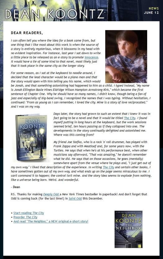 Dean Koontz eNewsletter 12 June 2014