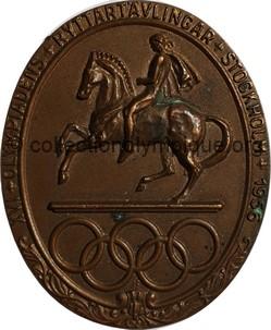 1956 Stockholm médaille olympique de participant recto bronze 50 x 42 mm - athlètes et officiels - designer J. Sjösvärd