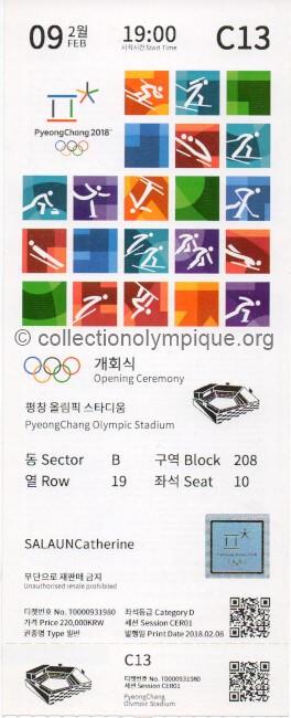 2018 PyeongChang billet olympique de la cérémonie d'ouverture édition locale recto, 09/02/2018 20 x 8 cm