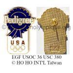 46 02 Club Top pin's Pedigree USA émail grand feu signé USOC 36 USC 380 © HO HO INT'L Taïwan
