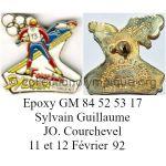 157_01 pin's disciplines olympiques Sylvain Guillaume médaille d'argent en combiné nordique émail à froid de synthèse, signé GM