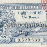 1900 Paris billet olympique recto, 7,3 x 5,2 cm, l'exposition universelle accueillit les Jeux pendant son déroulement