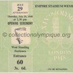 1948 Londres billet olympique cérémonie d'ouverture 29/07/1948, 11 x 8,9 cm
