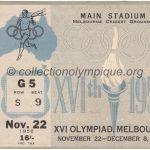 1956 Melbourne billet olympique cérémonie d'ouverture 22/11/1956, 11,8 x 9 cm