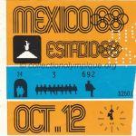 1968 Mexico billet olympique cérémonie d'ouverture, 12/10/1968, 12,7 x 11,7 cm