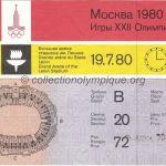 1980 Moscou billet olympique cérémonie d'ouverture, 19/07/1980, 17 x 11 cm