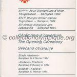 1984 Sarajevo programme olympique de la cérémonie d'ouverture 08/02/1984 20,5 x 10,3 cm