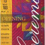 1996 Atlanta billet olympique cérémonie d'ouverture, 19/07/1996, 22,2 x 9,6 cm