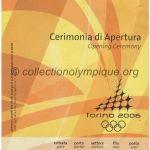 2006 Turin billet olympique cérémonie d'ouverture 10/02/2006, 21,4 x 9,6 cm