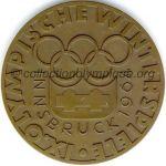 1964 Innsbruck médaille olympique de participant recto, bronze - athlètes et officiels - 61 mm - 5000 ex. - designer WELZ, fabrication Monnaie d'état (Vienne, Autriche)