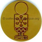 1972 Sapporo médaille olympique de participant recto, bronze - athlètes et officiels - 60 mm - 10000 ex. - designer Shigeo Fukuda