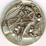1980 Lake Placid médaille olympique de participant recto, nickel / argent - athlètes, officiels et volontaires - 76 mm - 10000 ex. - designers Marcel Jovine / Neil Kennedy