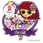 2008 Beijing sponsor pin, Coca-Cola pin, Zodiac sign pig