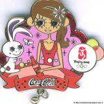 2008 Beijing sponsor pin, Coca-Cola pin, Zodiac sign hare
