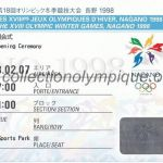 1998 Nagano olympic ticket opening ceremony recto
