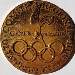 1985 médaille du CROS Côte d'Azur, coq or, recto