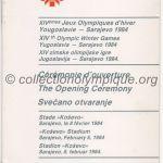 1984 Sarajevo programme olympique cérémonie d'ouverture 08/02/1984 20,5 x 10,3 cm