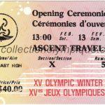 1988 Calgary billet olympique cérémonie ouverture recto