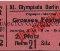 1936 Berlin billet d'entrée au grand festival durant les Jeux Olympiques