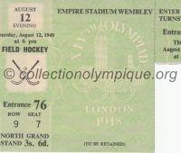 1948 Londres billet d'entrée pour la session de hockey sur gazon du 12 Août