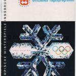 1964 Innsbruck programme olympique journalier n°6, luge, combiné nordique, slalom géant dame 03/02/1964 12,1 x 17,1 cm