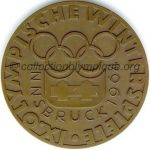 1964 Innsbruck olympic participant medal recto, bronze - athlets and officials - 61 mm - 5000 ex. - designer Welz, made by State Mint (Vienna, Austria)