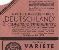 1936 Berlin billet d'entrée à l'exposition durant les Jeux olympiques