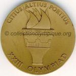 1984 Los Angeles médaille olympique participant recto, bronze - athlètes et officiels - 60 mm - 15 900 ex. - designer Dugland STERMER