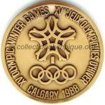 1988 Calgary médaille olympique participant recto, bronze - athlètes et officiels - 64 mm - 10000 ex. - designer Cornelius Martens