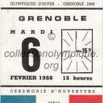 1968 Grenoble billet olympique cérémonie ouverture recto