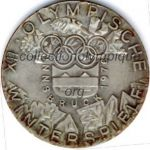 1976 Innsbruck olympic participant medal recto, silvered bronze - athlets - 50 mm - designer W. PICHL