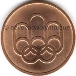 1976 Montréal médaille olympique participant recto, cuivre - athlètes et officiels - 45 mm - 19 760 ex. - designers Georges HUEL - Pierre-Yves PELLETIER