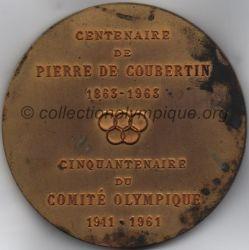 1963 médaille Pierre de Coubertin, centenaire de sa naissance, cinquantenaire du comité olympique verso