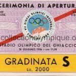 1956 Cortina billet olympique cérémonie d'ouverture 26/01/1956 12,7 x 8,4 cm