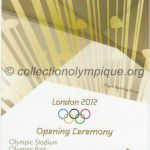 2012 Londres billet olympique cérémonie ouverture recto