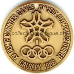 1988 Calgary olympic participant medal recto, bronze - athlets and officials - 64 mm - 10000 ex. - designer Cornelius Martens